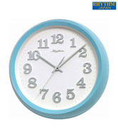 Rhythm Blue & White Round Wall Clock