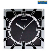 Rhythm Square Black & White Wall Clock