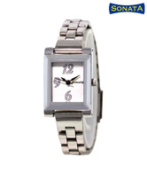 Sonata Appealing Silver White Watch