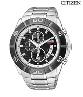 Citizen Stylish Black & Silver Chrono Watch