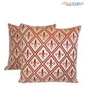 Dekor World Set Of Two Red & Beige Velvety Print Cushion Covers