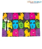 Dekor World Multicolour Face Design Set Of Six Table Placemats