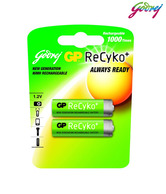 Godrej GP ReCyko 2xAA 2100mAh Ready To Use NiMH Rechargeable Batteries