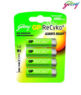 Godrej GP ReCyko 4xAA 2100mAh Ready To Use NiMH Rechargeable Batteries