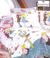 Valtellina Cartoon Print Kids White Single Bed Sheet With One Pillow Cover