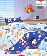 Valtellina Cartoon Print Kids Blue Single Bed Sheet With One Pillow Cover