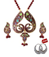 Indian Silver Peacock Design Meenakari Necklace Set With Free Earrings