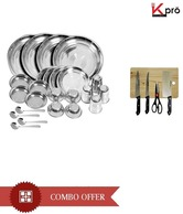 Kitchen Pro 24 Pcs Dinner Set & Chopping Board Set