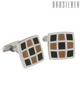 Orosilber Black And Copper Enamel Cufflinks