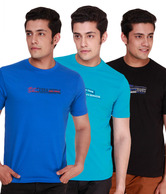 Fort Collins Inkblue-Light Blue-Black Pack of 3 Round Neck T-Shirts