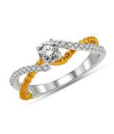 EGL Certified Diamond Studded Dual Tone 14Kt Gold Ring By INT
