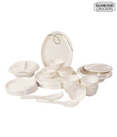 Diamond Crockery White Melamine Dinner Set - 31 Pcs