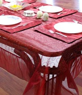Dekor World Maroon Table Cover & Place Mats- 7 Pcs