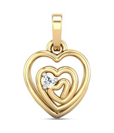 Candere Pretty Heart Spiral Solitaire Diamond Studded Gold Pendant