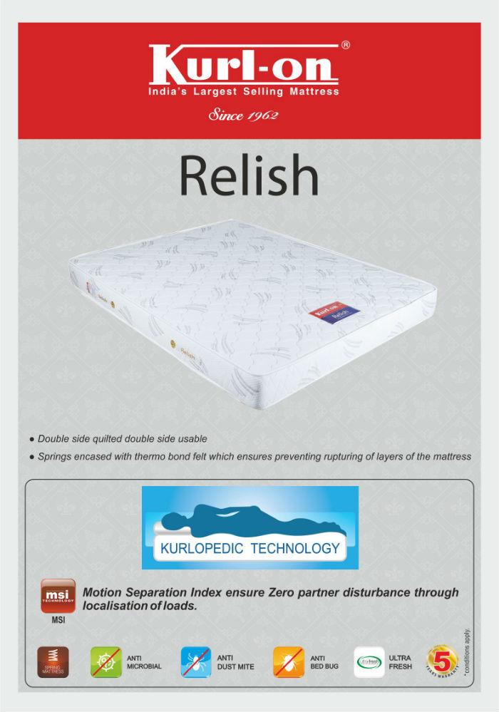kurl on relish 6 inch king size spring mattress 72x72x6 buy kurl