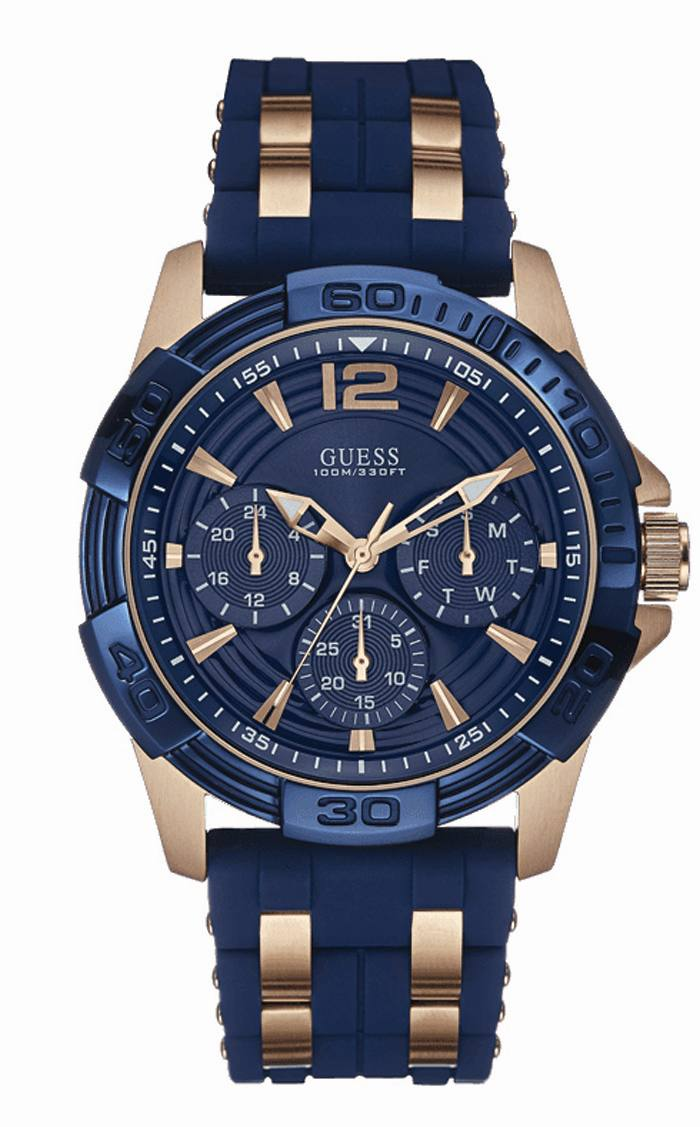 guess blue analog chronograph round watch for men w0366g4 buy description